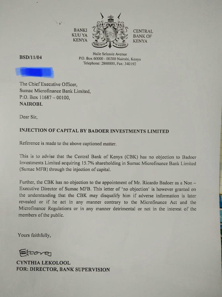 ケニア中央銀行からの承認公文書