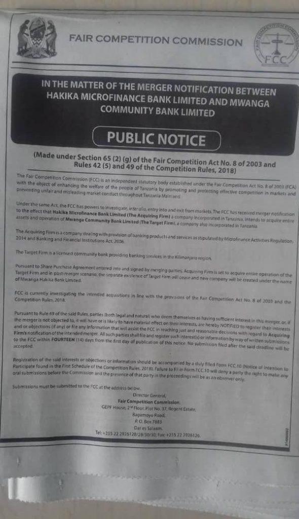Mwanga Community Bank買収
