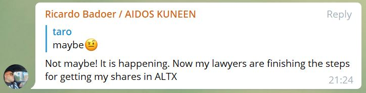 getting my shares in ALTX